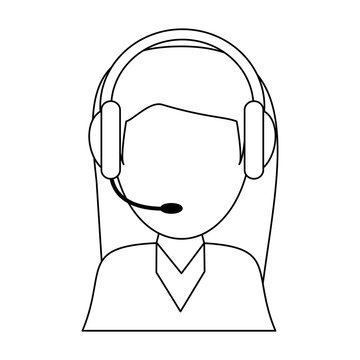 call center agent with headset in black and white