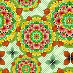 Foto auf AluDibond Ziehen Mandala African Zen Floral Ethnic Art Textile Seamless Pattern Vector Design
