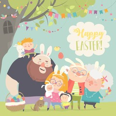 Cute family celebrating Easter. Father, mother, grandfather, grandmother, son, daughter