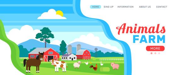 animals farm web banner design Wall mural