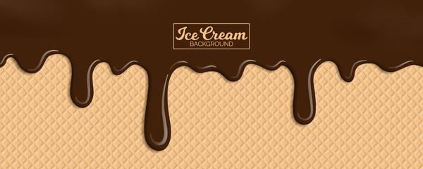 chocolate ice cream on wafer background