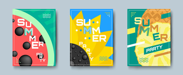 summer party creative posters set with watermelon sunflower pineapple and geometric shapes