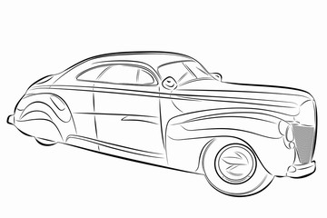 illustration of old car, vector draw