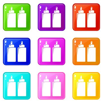 Ketchup mustard squeeze bottle icons set 9 color collection isolated on white for any design