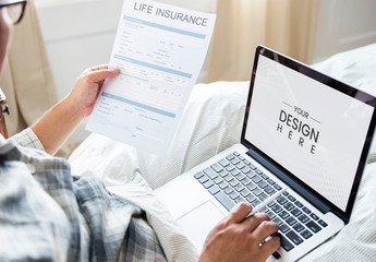 Insurance Form with Laptop Screen Mockup