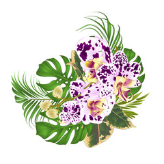 Bouquet with tropical flowers  floral arrangement, with beautiful spotted  purple and  white orchid, palm,philodendron and ficus vintage vector illustration  editable hand draw