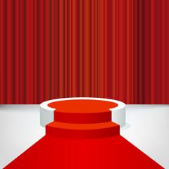 Concept de la réussite avec un podium et un tapis rouge, pour présenter un événement médiatisé et distribuer des trophées à des célébrités.
