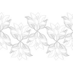 Monochrome Magnolia Flower Seamless Border. Unique Design