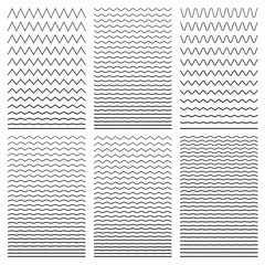 Set of wavy horizontal thin and thick lines. Design element. Vec