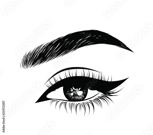 Abstract Fashion Illustration Of The Eye With Creative Makeup Hand