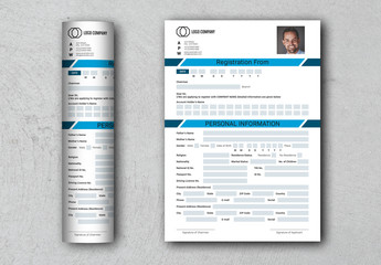 Registration Form Layout with Blue Accents