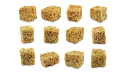 Set of different croutons isolated on a white background