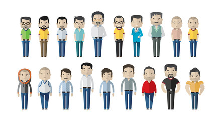 Varied male fashion avatar. Vector cartoon characters with different clothes, shoes and hairstyles. They are all interchangeable. – Vector