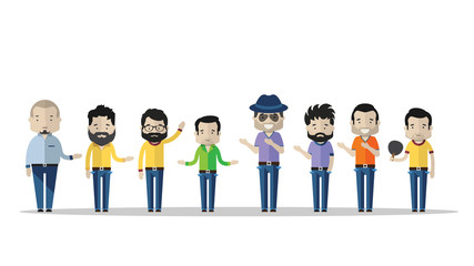 Varied male fashion avatar. Vector cartoon characters with different clothes, shoes and hairstyles. They are all interchangeable. - Vector