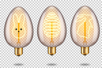 Wall Mural - Set of realistic transparent glowing vintage light bulb with easter egg and bunny, isolated.