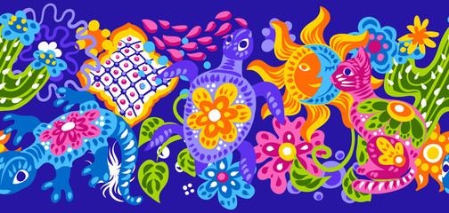 Mexican pattern with cute naive art items.
