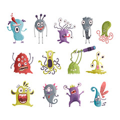 Cute cartoon monsters. Vector.