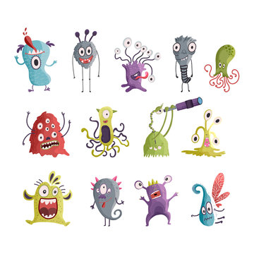 Cute cartoon monsters. Vector.