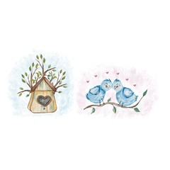Set of watercolor spring elements. Birds and houses. For business cards, wedding products and textiles