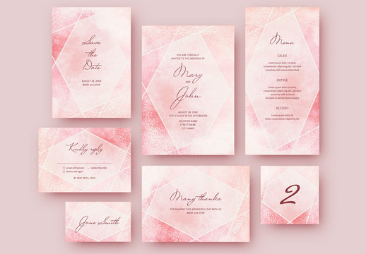 Wedding Stationery Set with a Pink Watercolor Textured Background