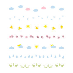 Set, collection of cute, kawaii colorful nature borders isolated on white background.