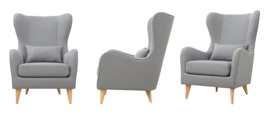 Chair from gray fabric in the Scandinavian style Fototapete
