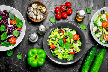 Vegetable salad. A variety of organic salads, vegetables with olive oil and spices .