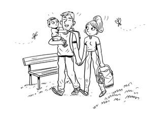 family cartoon illustration contour hand drawn on white background