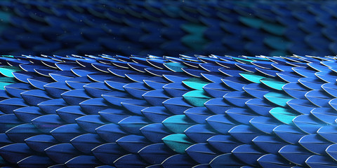 Blue and gold dragon reptile fish snake skales squama pattern backround. dragon skin 3d rendered background