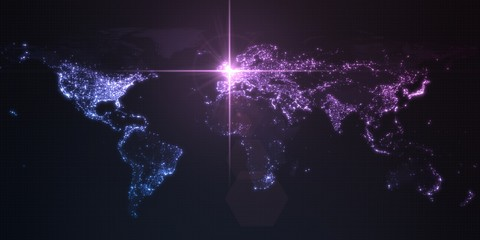 power of england, energy beam on london. dark map with illuminated cities and human density areas. 3d illustration
