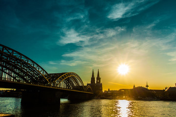 Cologne Cathedral, Catholic Church and Hohenzollern Bridge. Photo for postcard.