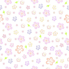 Vector seamless floral pattern on a white background. Small hand-drawn flowers of pastel shades.