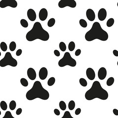 Seamless pattern with animal paw print. Vector illustration