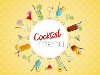 Hand drawn cocktails. Cocktail menu. On light yellow background. Vector illustration.