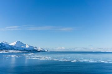 Eisschollen im arktischen Wasser am Grøtfjord in Norwegen
