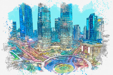 Watercolor sketch or illustration of a beautiful view of the urban architecture in Shanghai in China