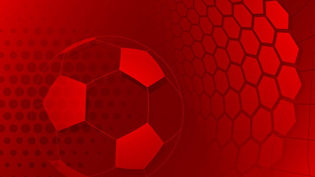 Football or soccer background with big ball in red colors