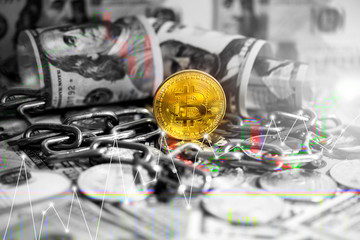 Cryptocurrency bitcoin , Litecoin (LTC) and US dollars on table close up.business concept.