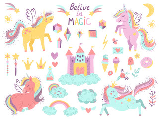 Set of fantasy unicorns and items