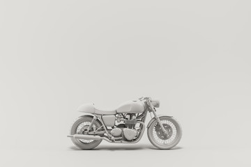 Caferacer motorcycle on clean background flatlay 3d illustration Papier Peint