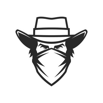 Male head in cowboy hat and bandana