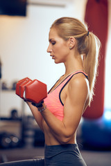 Woman lifting dumbbells. Side view. Healthy lifestyle concept.
