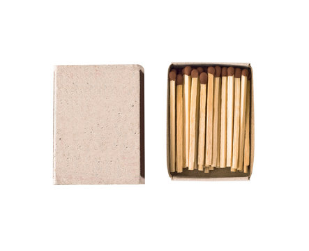 Top view of matchbox with wooden matches sticks isolated on white background