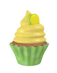 3d Zitronen Cupcake mit Lemon Scheiben. 3d render