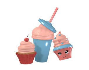 3d Kawaii Cupcake, Milchshake und Kirsch Cupcake. 3d render