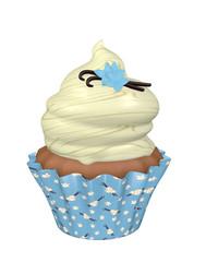 3d Vanille Cupcake. 3d render