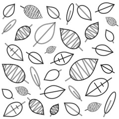 vector background illustration in black and white with leaves