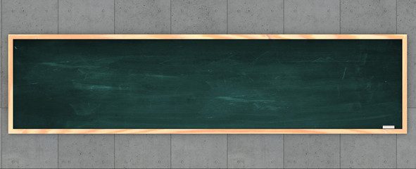 Large blackboard and chalk on a concrete wall. Free space to write. University and teaching school. 3d rendering