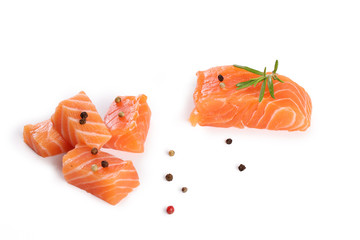 salmon fillet isolated on white background