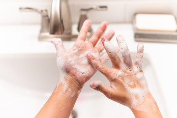 Close up of hands with soap